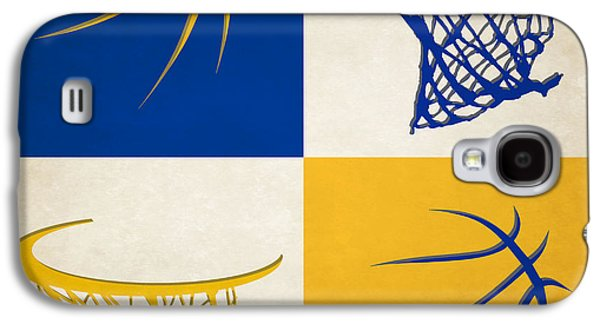 Dunk Galaxy S4 Cases - Warriors Ball And Hoop Galaxy S4 Case by Joe Hamilton