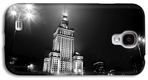 Polish Culture Galaxy S4 Cases - Warsaw Poland downtown skyline at night Galaxy S4 Case by Michal Bednarek