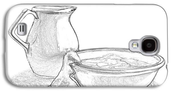 """""""indoor"""" Still Life Mixed Media Galaxy S4 Cases - Wash Basin and Water Pitcher Galaxy S4 Case by Linda Muir"""
