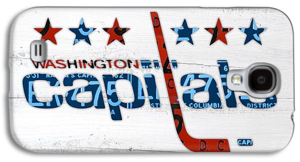 Hockey Mixed Media Galaxy S4 Cases - Washington Capitals Retro Hockey Team Logo Recycled District of Columbia License Plate Art Galaxy S4 Case by Design Turnpike