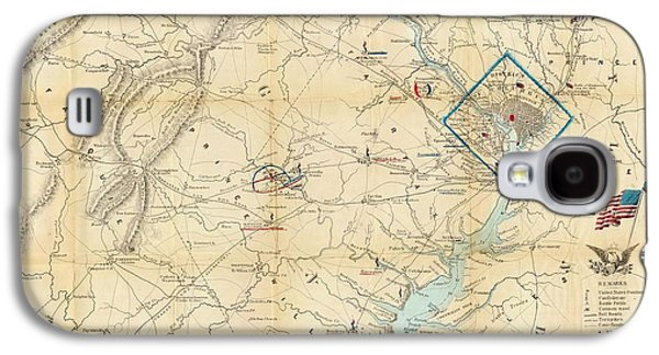 Government Mixed Media Galaxy S4 Cases - Washington DC Virginia 1862 Map Galaxy S4 Case by Dan Sproul