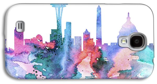 Maps Paintings Galaxy S4 Cases - Washington Galaxy S4 Case by Lyubomir Kanelov