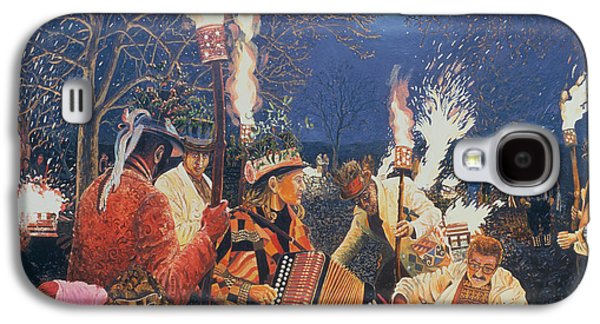 New Years Galaxy S4 Cases - Wassailing In Herefordshire, 1995 Oil On Board Galaxy S4 Case by Huw S. Parsons