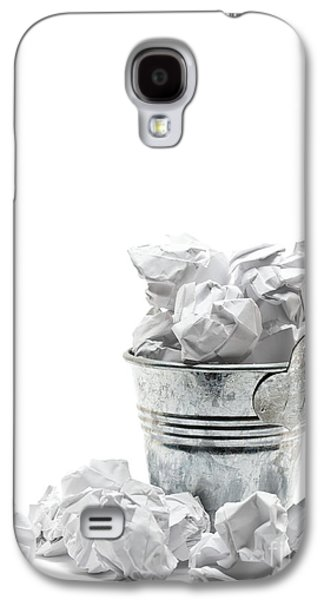 Business Sculptures Galaxy S4 Cases - Waste basket with crumpled papers Galaxy S4 Case by Shawn Hempel