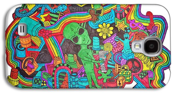 Trippy Drawings Galaxy S4 Cases - Watch Out Galaxy S4 Case by Chelsea Geldean