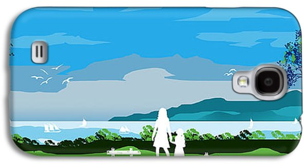 Dogs Digital Art Galaxy S4 Cases - Watching The Boats With Mum And Ben Galaxy S4 Case by Peter Stevenson