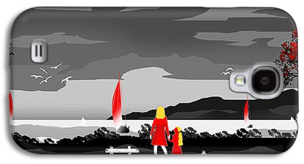 Dogs Digital Art Galaxy S4 Cases - Watching the Boats With Mum And Ben....Desat Galaxy S4 Case by Peter Stevenson