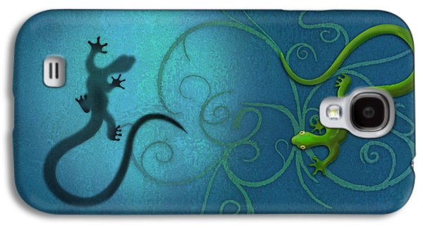 water colour print of twin geckos and swirls Duality Galaxy S4 Case by Sassan Filsoof