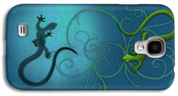 Print Digital Galaxy S4 Cases - water colour print of twin geckos and swirls Duality Galaxy S4 Case by Sassan Filsoof
