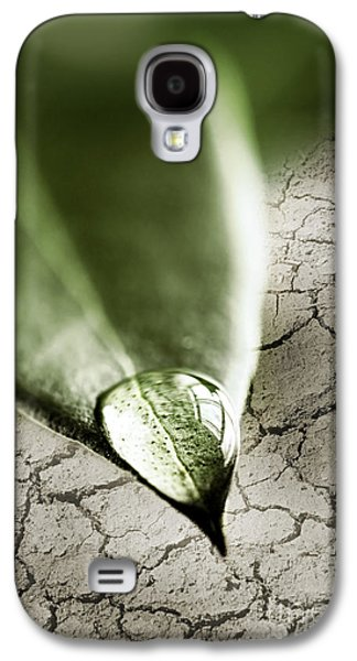 Concept Photographs Galaxy S4 Cases - Water drop on green leaf Galaxy S4 Case by Elena Elisseeva
