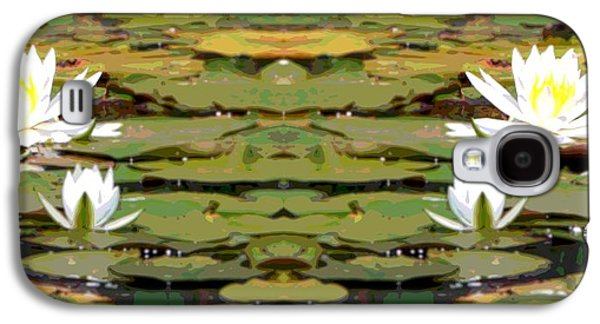 Aquatic Mixed Media Galaxy S4 Cases - Water Lily Poster Galaxy S4 Case by Dan Sproul