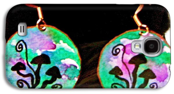 Round Jewelry Galaxy S4 Cases - Watercolor Earrings Mushroom Trio Silhouette Galaxy S4 Case by Beverley Harper Tinsley