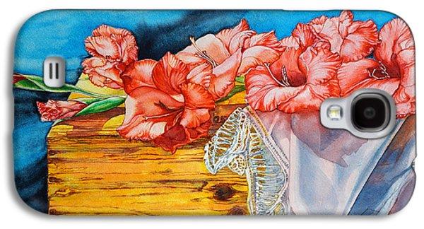 Gladiolas Paintings Galaxy S4 Cases - Watercolor Exercise Gladiolas Galaxy S4 Case by Xavier Francois
