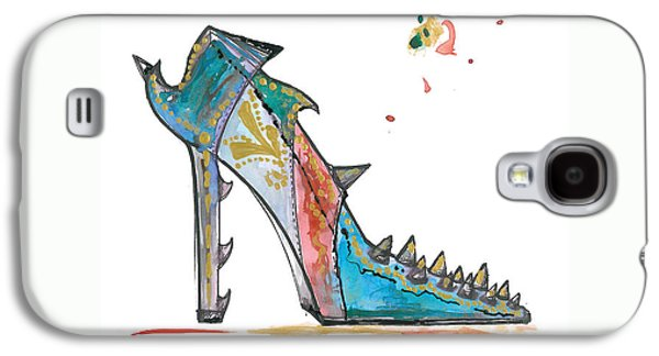 Reptiles Drawings Galaxy S4 Cases - Watercolor fashion illustration art Galaxy S4 Case by Marian Voicu