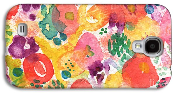 Nature Abstracts Mixed Media Galaxy S4 Cases - Watercolor Garden Galaxy S4 Case by Linda Woods