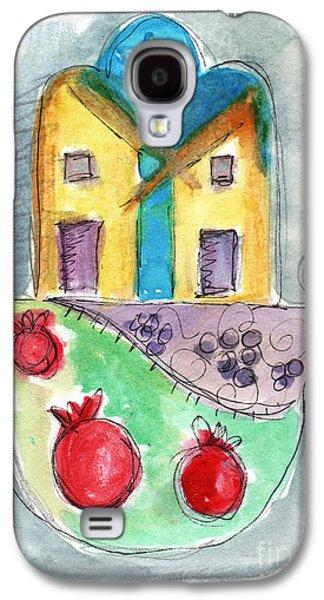 Blue Grapes Galaxy S4 Cases - Watercolor Hamsa  Galaxy S4 Case by Linda Woods