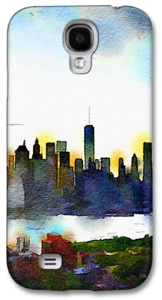 Skylines Paintings Galaxy S4 Cases - Watercolor Manhattan Galaxy S4 Case by Natasha Marco