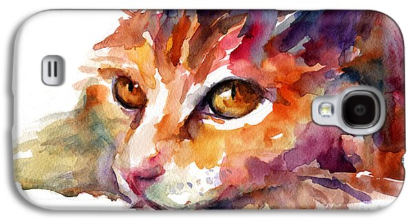 Texas Artist Galaxy S4 Cases - Watercolor orange tubby cat Galaxy S4 Case by Svetlana Novikova