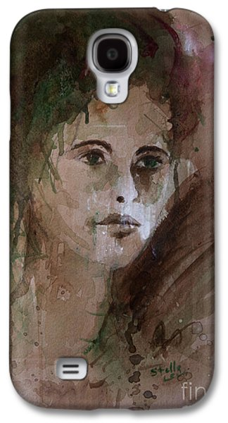 Cardboard Mixed Media Galaxy S4 Cases - Watercolor Portrait Galaxy S4 Case by Stella Levi