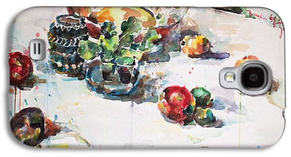 Becky Kim Paintings Galaxy S4 Cases - Watercolor Still Life in April Galaxy S4 Case by Becky Kim