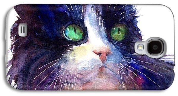 Mood Paintings Galaxy S4 Cases - Watercolor Tuxedo tubby Cat Galaxy S4 Case by Svetlana Novikova