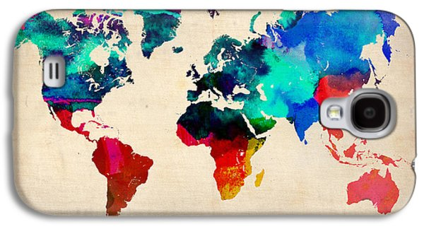 World Map Poster Digital Galaxy S4 Cases - Watercolor World Map 3 Galaxy S4 Case by Naxart Studio