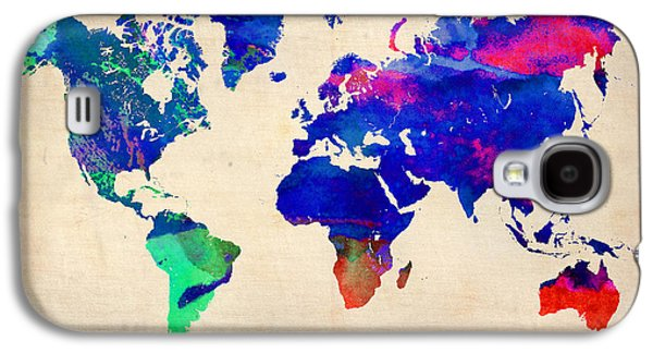 World Map Poster Digital Galaxy S4 Cases - Watercolor World Map 4 Galaxy S4 Case by Naxart Studio