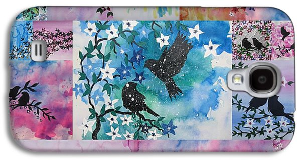 Catherine White Digital Galaxy S4 Cases - Watercolour Birds Galaxy S4 Case by Cathy Jacobs