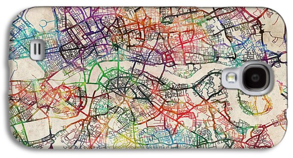 Capital Galaxy S4 Cases - Watercolour Map of London Galaxy S4 Case by Michael Tompsett