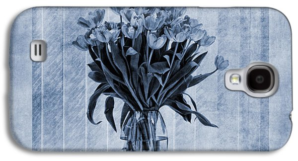 Close Focus Floral Galaxy S4 Cases - Watercolour Tulips in Blue Galaxy S4 Case by John Edwards