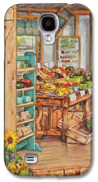 Farmstand Paintings Galaxy S4 Cases - Watermelon Farm Stand Galaxy S4 Case by Sharon Jordan Bahosh