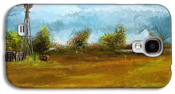 Autumn Scenes Galaxy S4 Cases - Watson Farm In Rhode Island - Old Windmill And Farming Art Galaxy S4 Case by Lourry Legarde