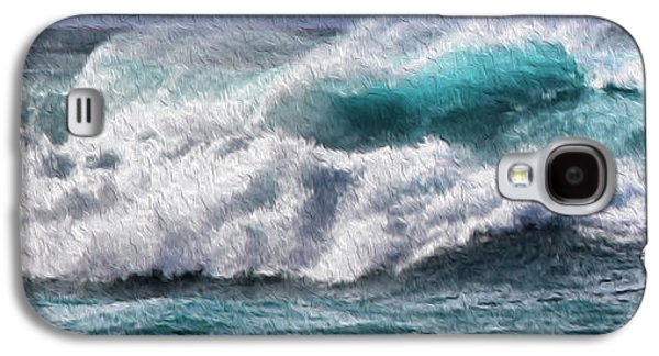 Surreal Landscape Galaxy S4 Cases - Wave panoramic painting Galaxy S4 Case by Cheryl Young
