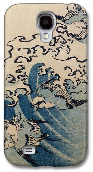 Waves And Birds Galaxy S4 Case by Katsushika Hokusai