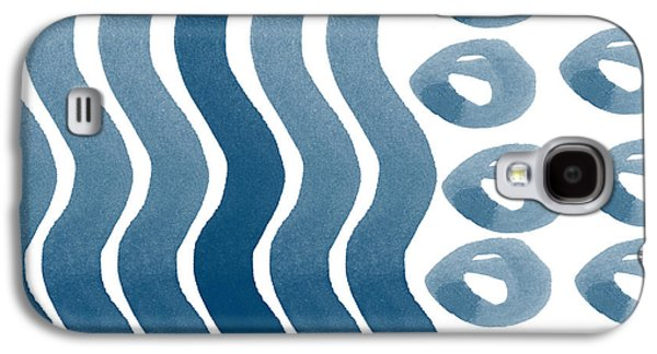 Waves And Pebbles- Abstract Watercolor In Indigo And White Galaxy S4 Case by Linda Woods
