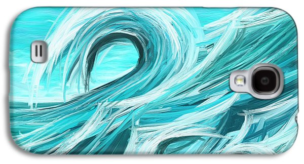 Blue Green Wave Galaxy S4 Cases - Waves Collision - Abstract Wave Paintings Galaxy S4 Case by Lourry Legarde