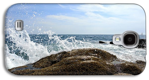 Maine Shore Galaxy S4 Cases - Waves Crashing Galaxy S4 Case by Olivier Le Queinec