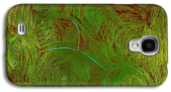 Colored Pencil Abstract Drawings Galaxy S4 Cases - Waves Moving Galaxy S4 Case by Sarah Hawkins