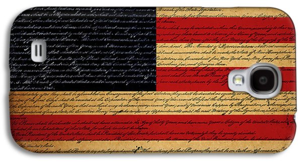4th July Digital Galaxy S4 Cases - We The People - The US Constitution with Flag - square Galaxy S4 Case by Wingsdomain Art and Photography