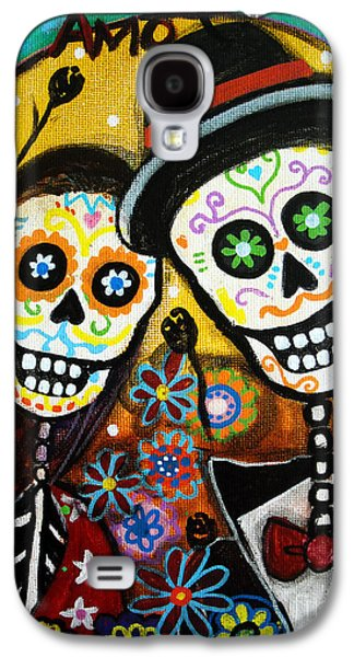 Town Paintings Galaxy S4 Cases - Wedding Dia De Los Muertos Galaxy S4 Case by Pristine Cartera Turkus