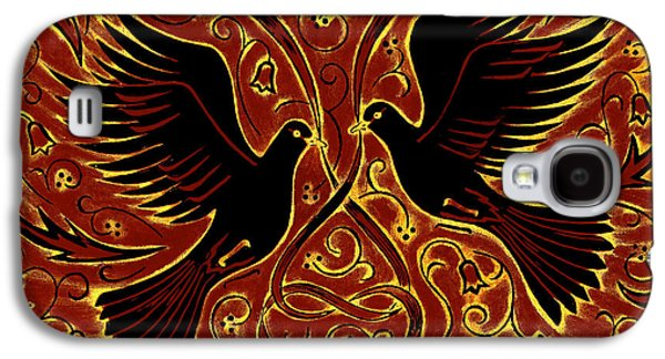Printmaking Galaxy S4 Cases - Wedding Doves, 2013 Woodcut Galaxy S4 Case by Nat Morley