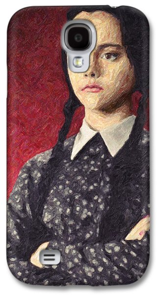 Character Portraits Paintings Galaxy S4 Cases - Wednesday Addams Galaxy S4 Case by Taylan Soyturk