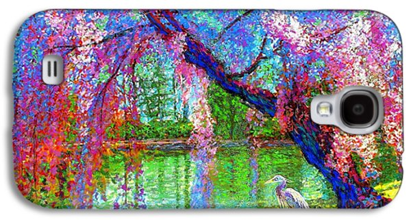 Weeping Beauty, Cherry Blossom Tree And Heron Galaxy S4 Case by Jane Small