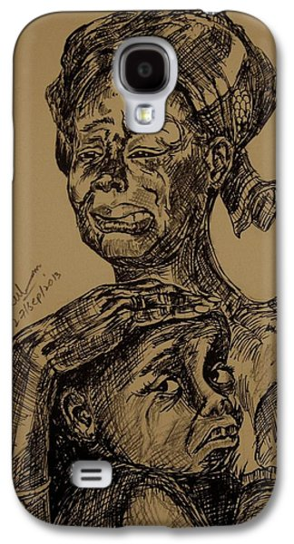 Weeping Drawings Galaxy S4 Cases - Weeping Mother And Kid Galaxy S4 Case by Umme Kulsoom