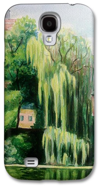Buildin Galaxy S4 Cases - Weeping Willow at North Pond Galaxy S4 Case by Nicolas Bouteneff