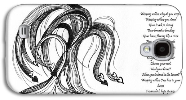 Weeping Drawings Galaxy S4 Cases - Weeping Willow With Poem Galaxy S4 Case by Minnie Lippiatt