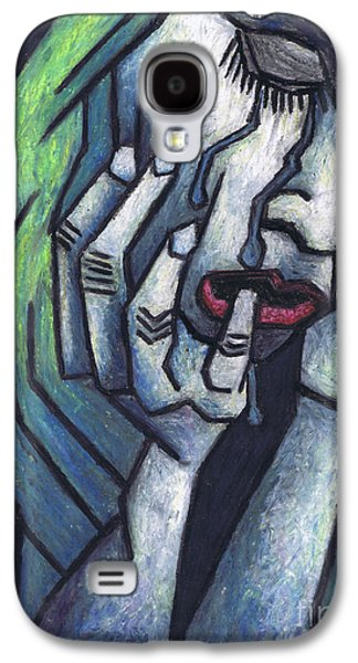 Colorful Abstract Pastels Galaxy S4 Cases - Weeping Woman Galaxy S4 Case by Kamil Swiatek