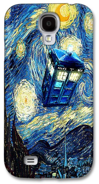 Tardis Galaxy S4 Cases - Weird Flying Phone Booth Starry the night Galaxy S4 Case by Three Second