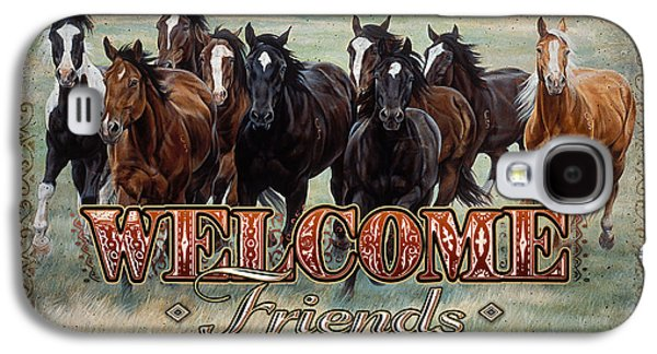 Michelle Galaxy S4 Cases - Welcome Friends Horses Galaxy S4 Case by JQ Licensing