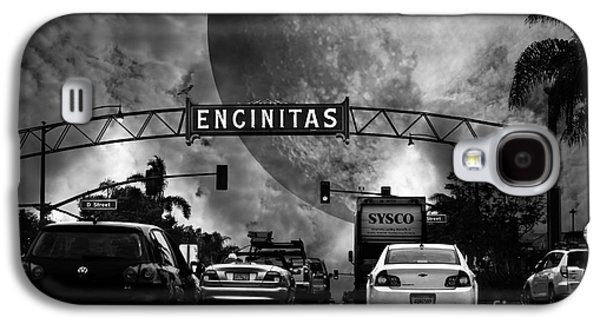 Recently Sold -  - Fantasy Photographs Galaxy S4 Cases - Welcome To Encinitas California 5D24221 black and white Galaxy S4 Case by Wingsdomain Art and Photography
